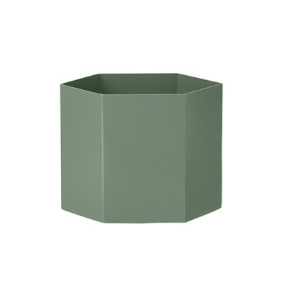 l-appartamento-rimini-ferm-living-hexagon-pot-dusty-green-vase-plant-holder-danish-design